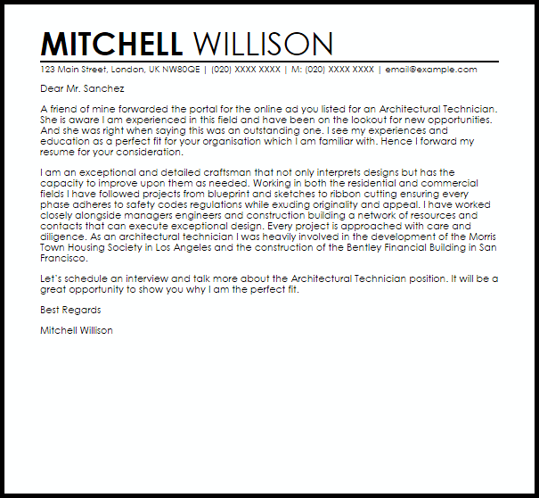 Architectural Technologist Resume Sample Of Cover Letter