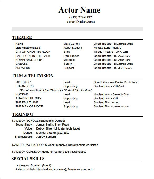 Beginner First Job Sample Resume Of How to Create A Good Acting Resume Template