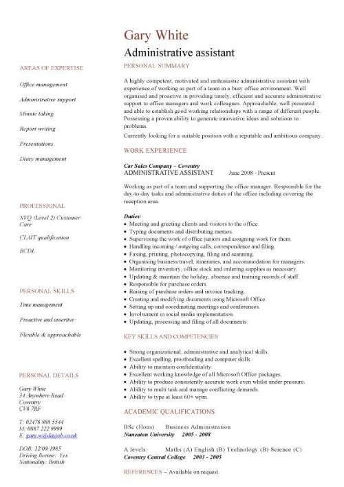 Best Administrative assistant Resume Of Administration Cv Template Free Administrative Cvs Administrator Job Description Office Clerical