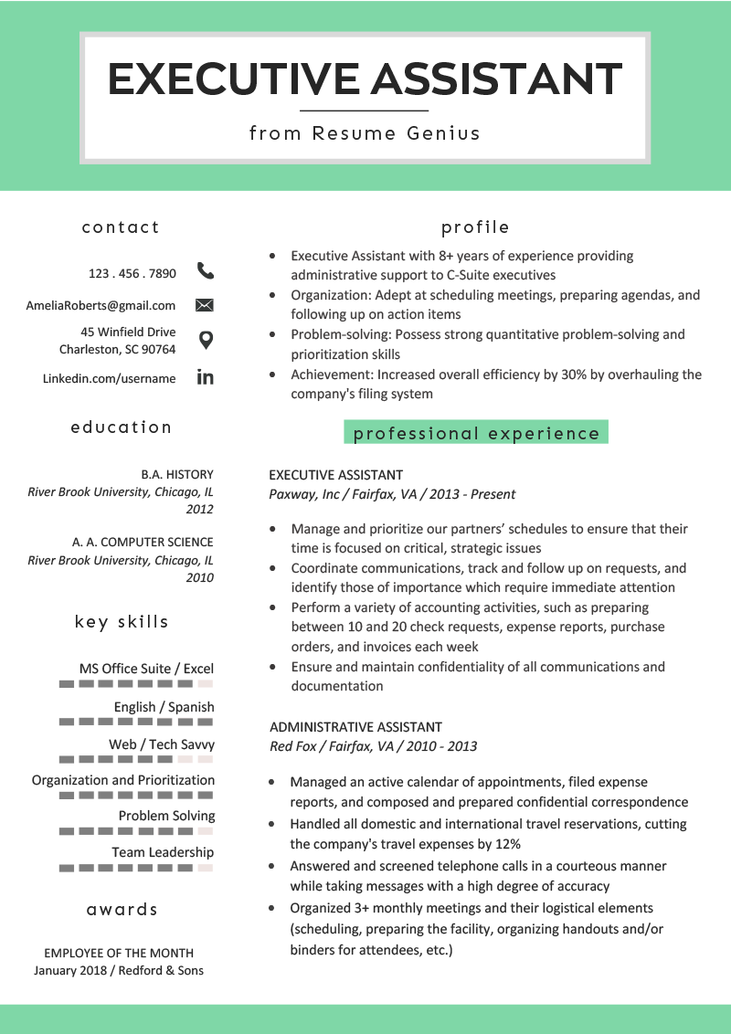 Best Administrative assistant Resume Of Executive assistant Resume Example & Writing Tips