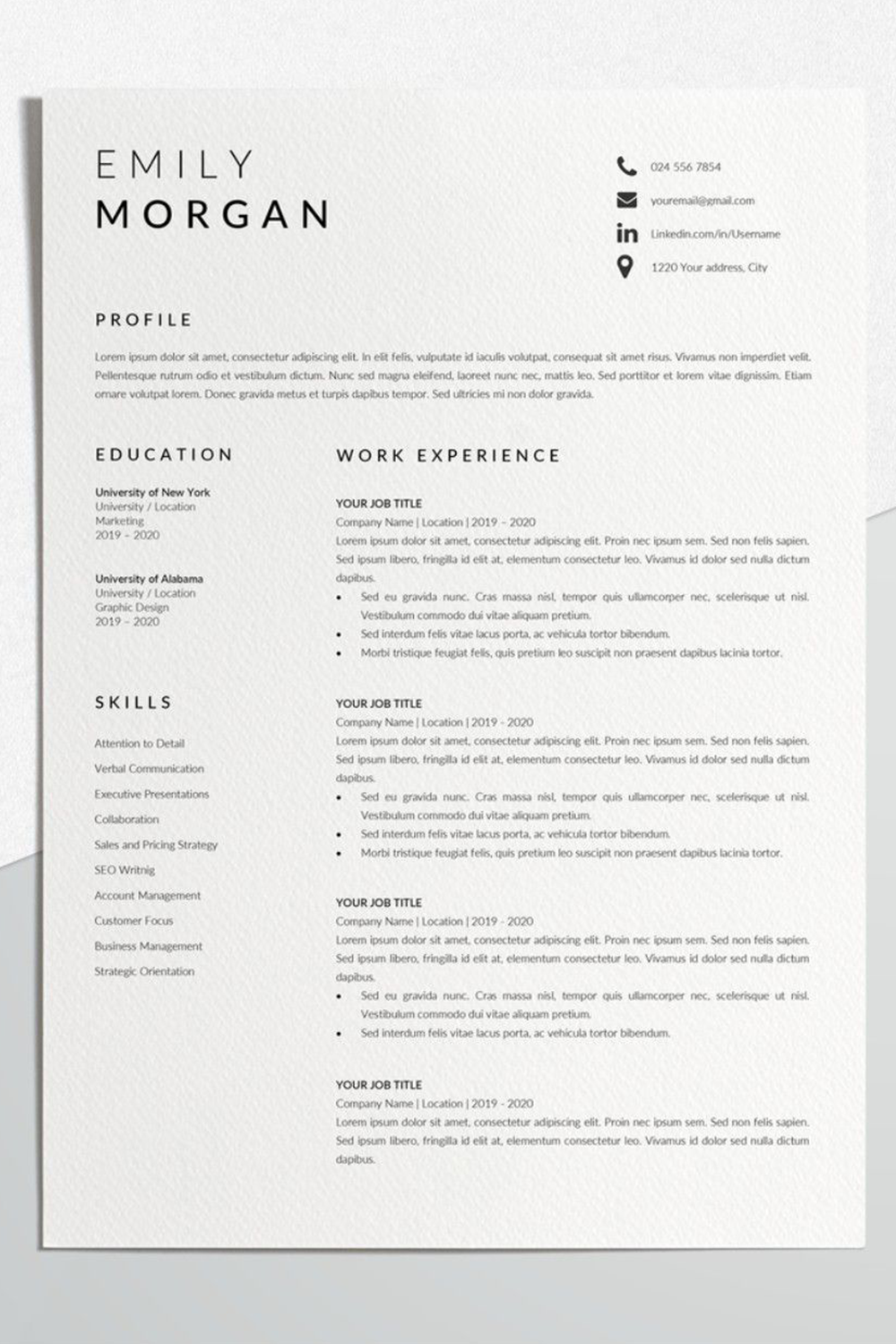 Best Way to format A Resume Of Etsy Resume Template Work Resume Template Modern Resume Template Perfect Cv Template