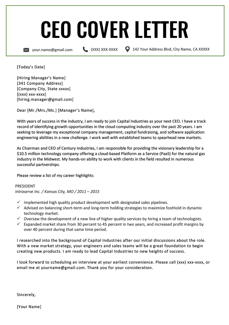 Cover Letter for Executive assistant Position Of Executive Cover Letter Examples Ceo Cio Cto