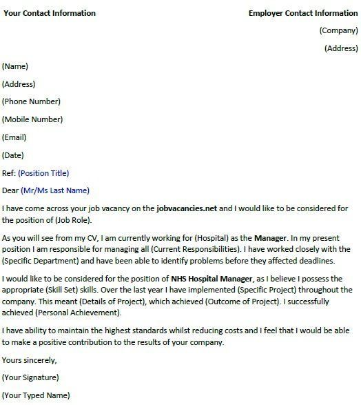 Cover Letter for Manager Position Of Nhs Hospital Manager Cover Letter Example Icover