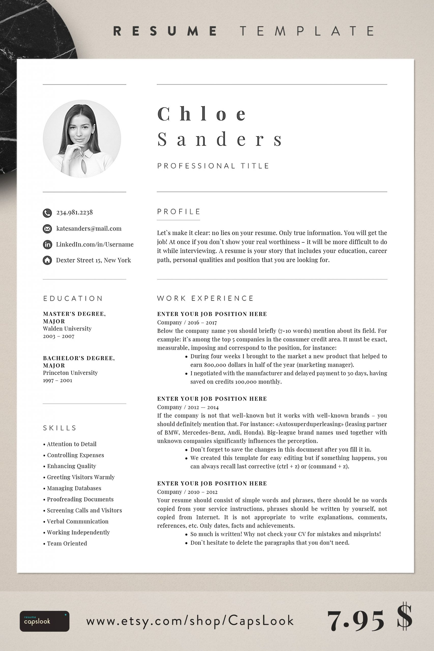 Esthetician Resume Cover Letter Of Resume Template Etsy 2019