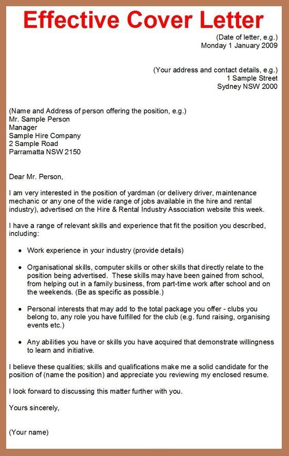 Example Of Job Application Letter Of Effective Cover Letter