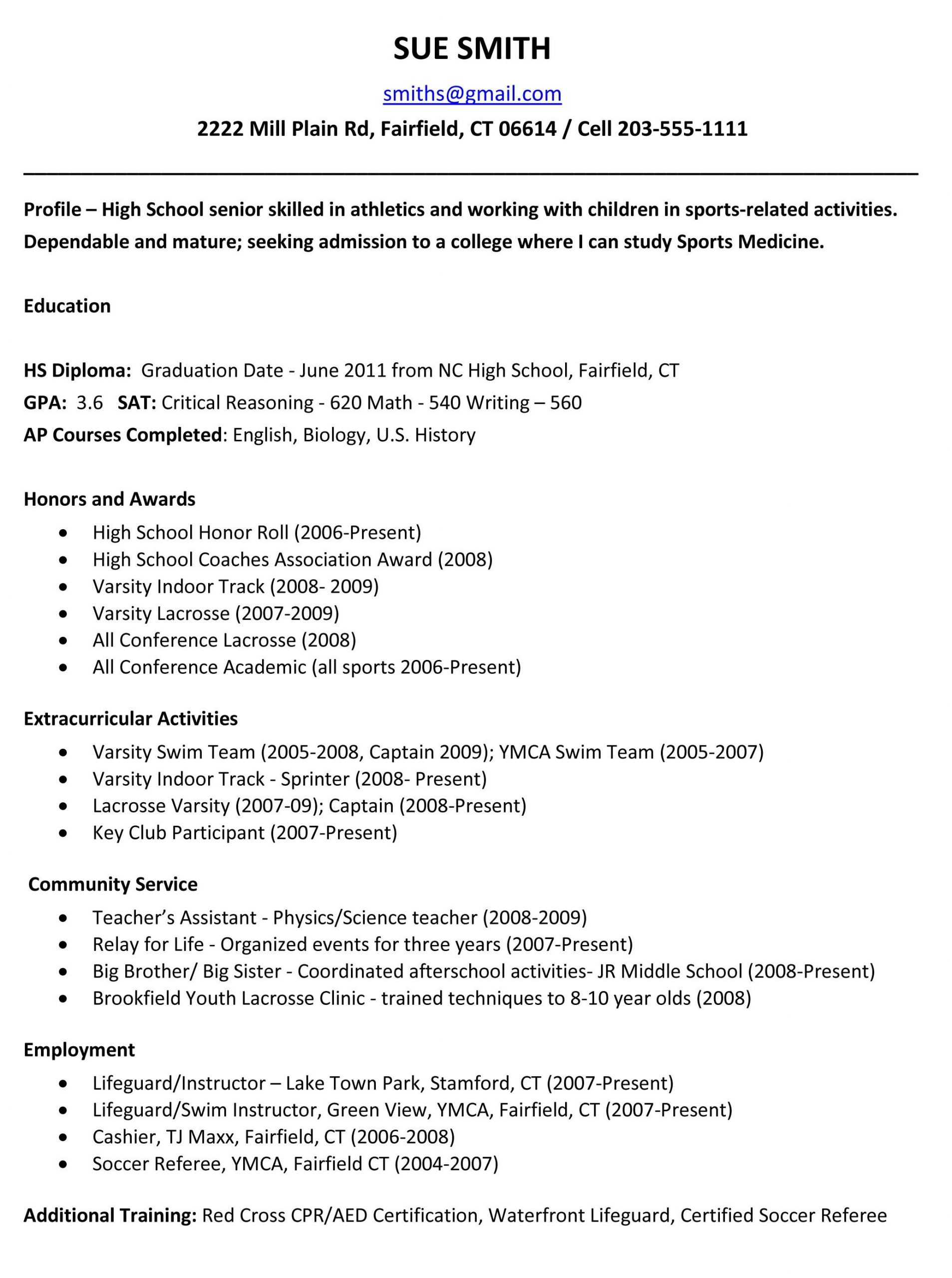 Example Of Student Resume for College Application Of Example Resume for High School Students for College Applications School Resume Templateregularmidwesterners