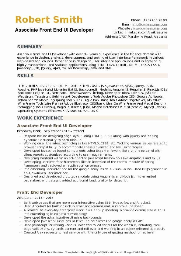 Front End Developer Resume Sample Of Entry Level Web Developer Resume Beautiful Front End Ui Developer Resume Samples