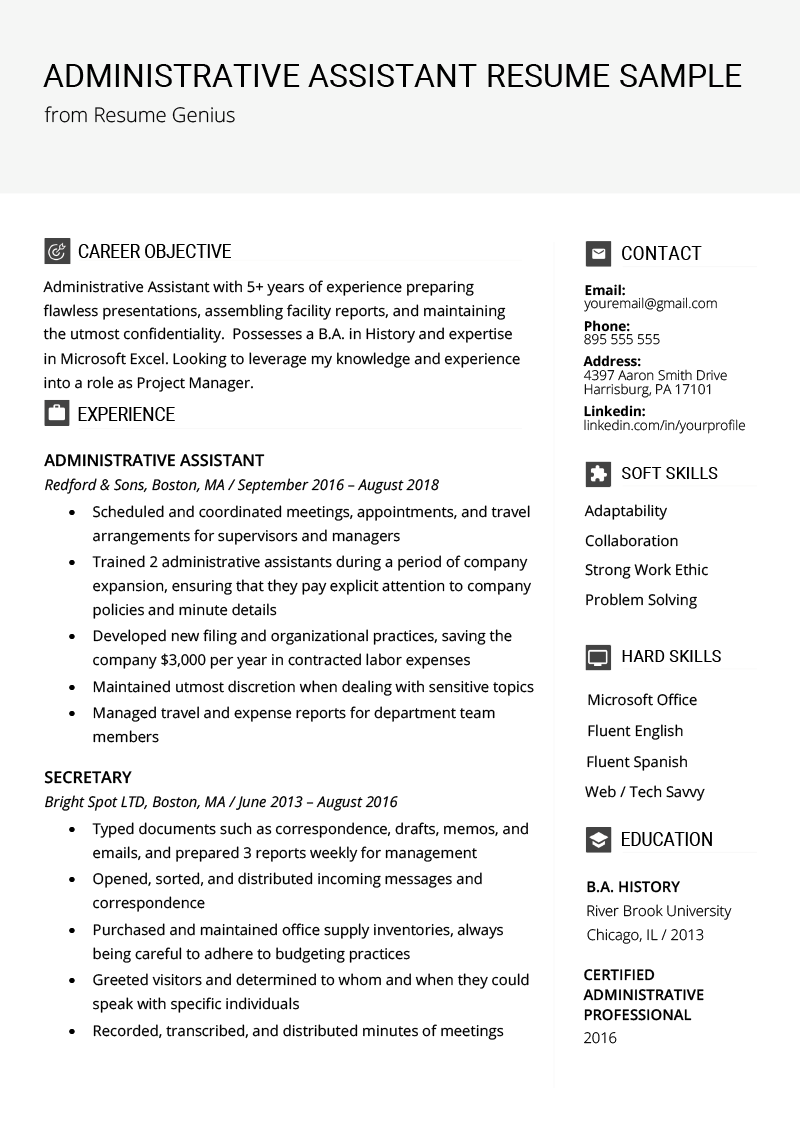 Good Resume Summary Examples Of Administrative assistant Resume Example & Writing Tips