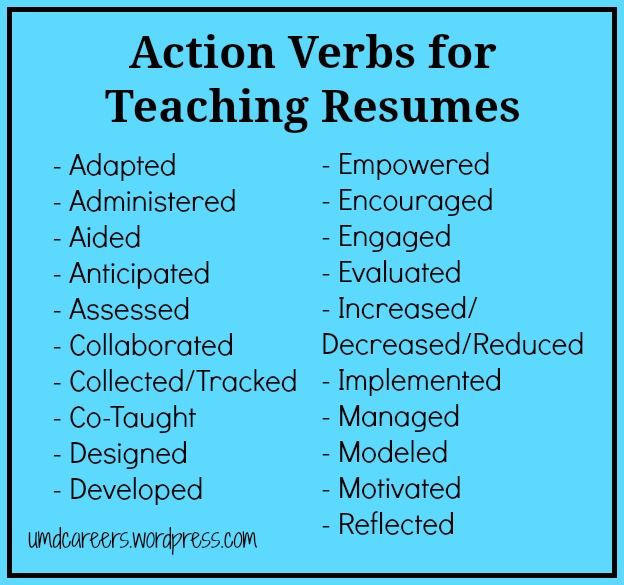 """List Of Action Verbs for Resume Of Words to Use On A Teaching Resume Other Than """"taught"""""""