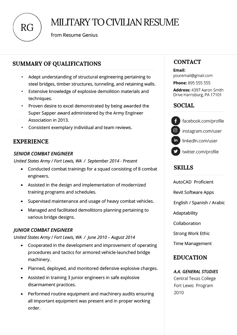 Military Experience On Resume Example Of How to Write A Military to Civilian Resume