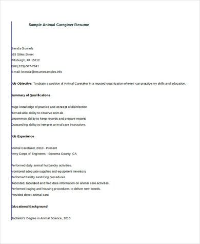 Part Time Job Resume Example Of Caregiver Resume Example 7 Free Word Pdf Documents Download