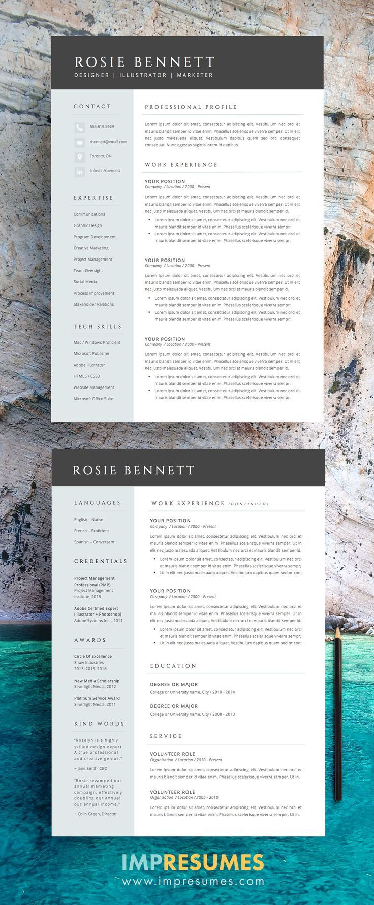 Recruiters Resume Of 4 Page Resume Template Package for Word the Rosie