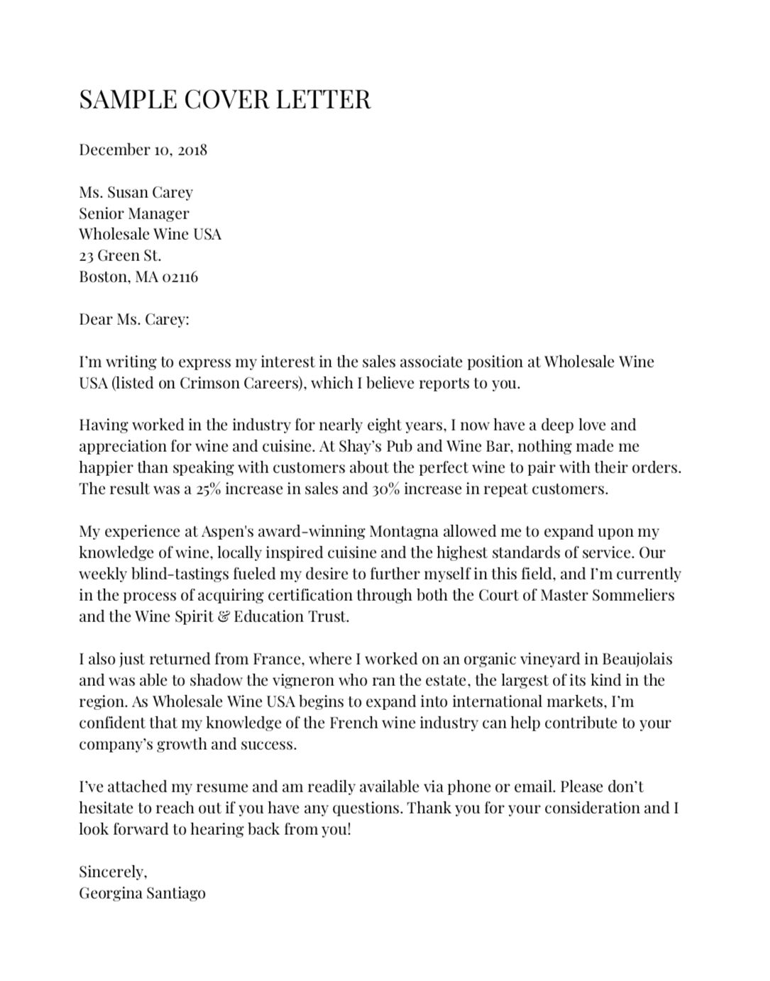 Resume Cover Letter Examples Of Here S An Example Of the Perfect Cover Letter According to Harvard Career Experts