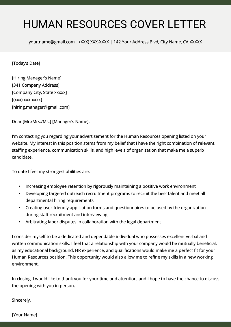 Resume Cover Letter Examples Of Human Resources Hr Cover Letter Example