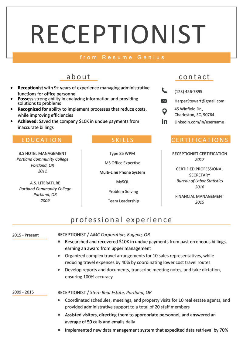 Resume Examples for Jobs with Experience Of Receptionist Resume Sample & Writing Guide