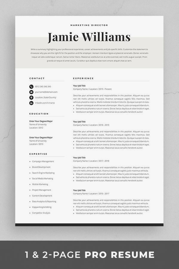 Resume Template Cover Letter Examples Of 33 Nice Cv Template Marketing 2019
