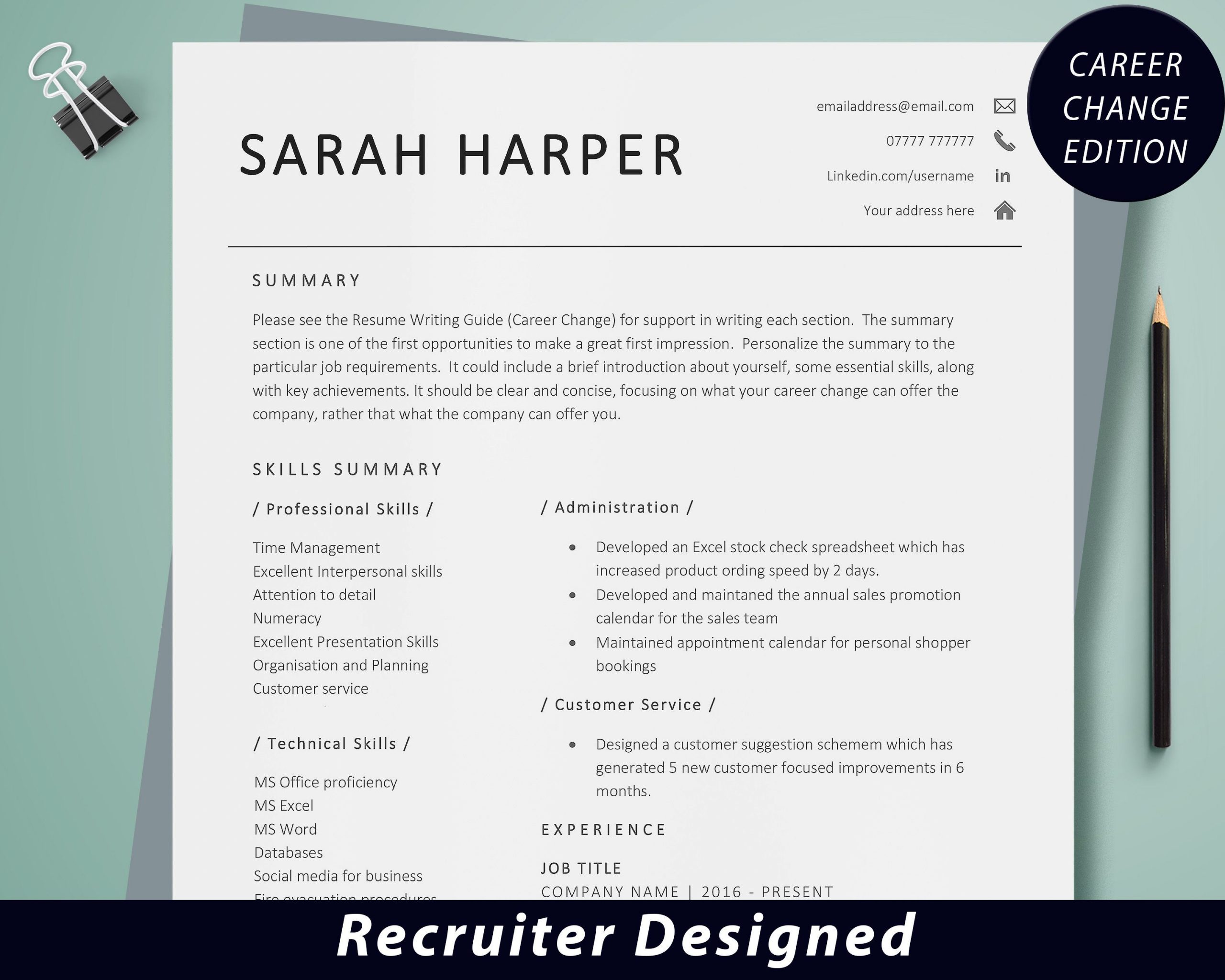 Resume Template Cover Letter Examples Of Career Change Resume Template Career Change Cv Template