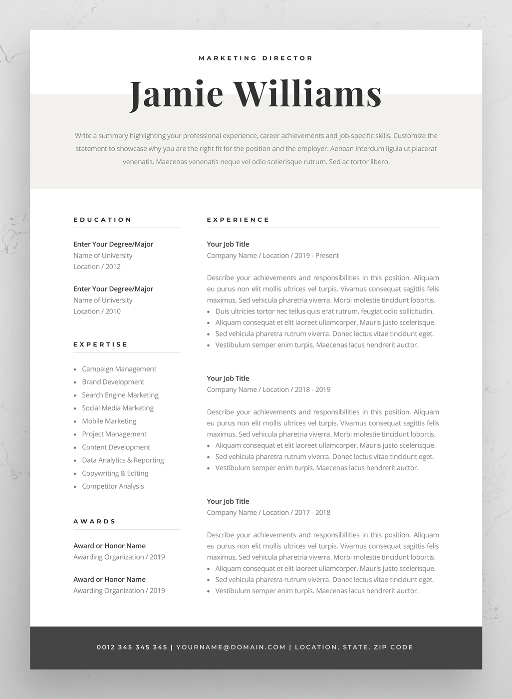Resume Template Cover Letter Examples Of Professional Resume Template Elegant Resume Design 1 & 2 Page Cv