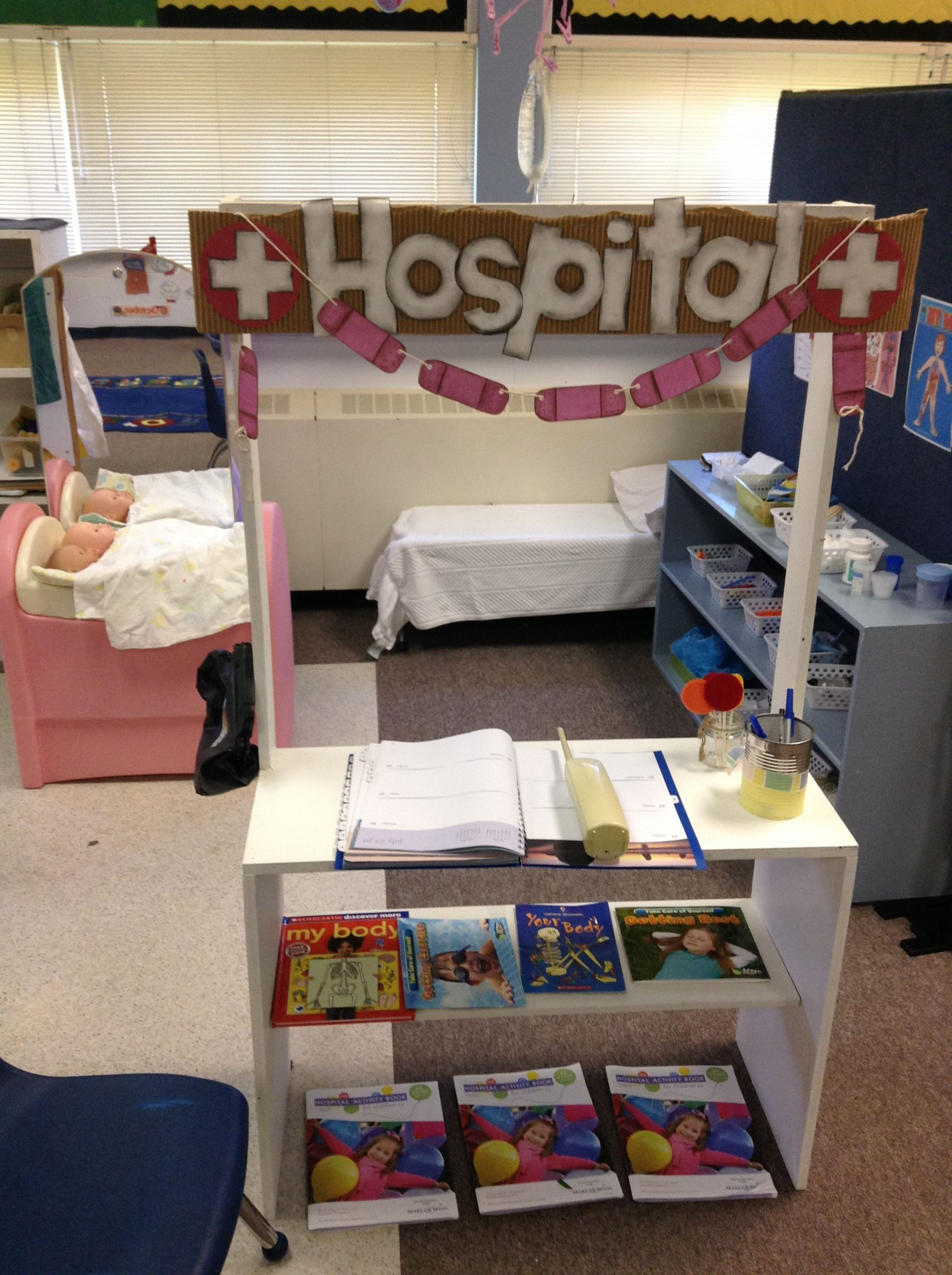 "Roles Of A Receptionist Of Our Dramatic Play area ""hospital"" is A Huge Hit the Waiting area Has some Fun Medical Activity Books for Kids and once the ""receptionist"" Has Admitted You the Doctors Have All the Latest Equipment Like Band Aids Gauze Wraps Iv Bag ""needles"" Crutches and so Much More the Best is the "" Lipop"" at the End Of Your Visit"