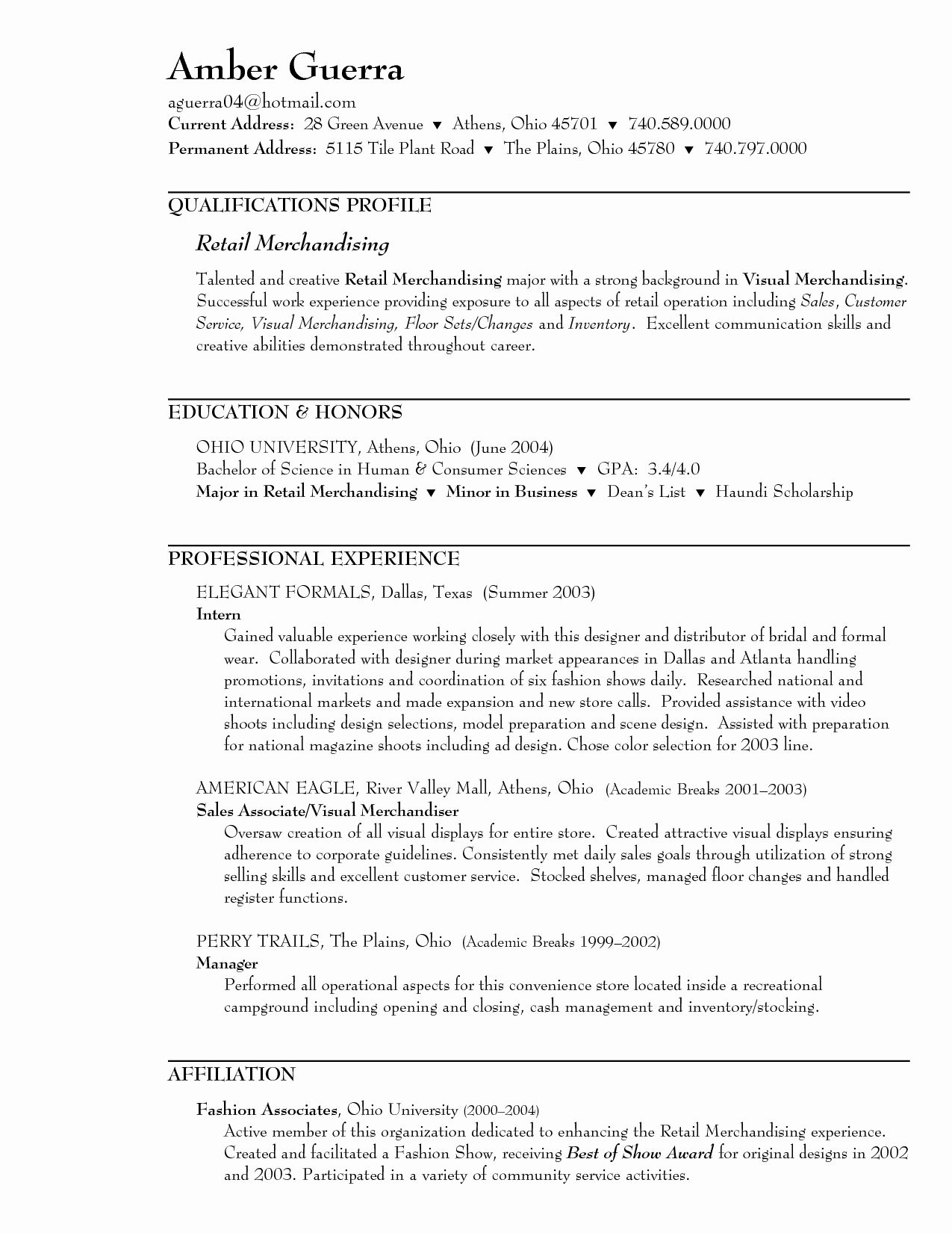 Sample Resume for Retail Merchandiser Of Retail Sales associate ...