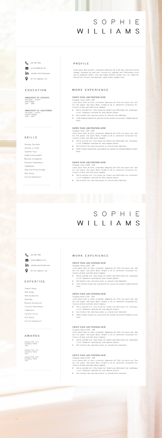 Simple Cover Letter for Resume Samples Of New Cv Template Resume Template Minimalist Professional Cv Design Resume Template Instant Download Word