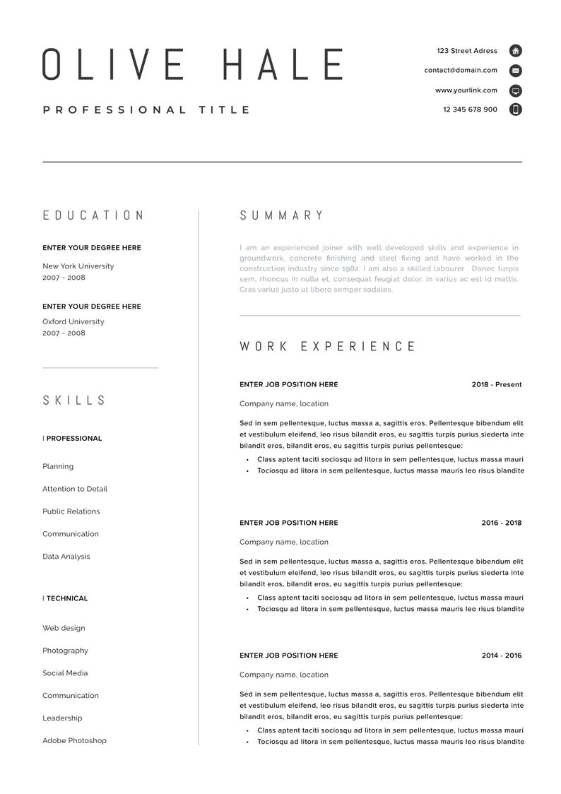 """Simple Resume Template Free Of Professional Resume Template Clean & Modern Resume Template E Page Resume Instant Download Resume Cv Template for Word """"san Diego"""""""