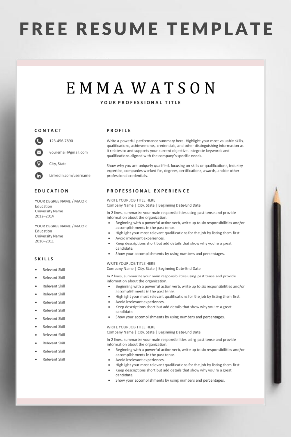 Simple Resume Template Free Of Simple Resume Template Download for Free