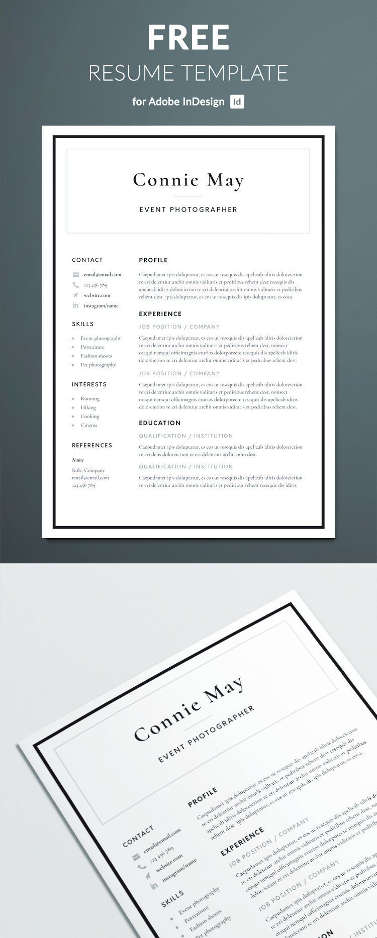 Simple Resume Template Free Of Simple Resume Template for Indesign