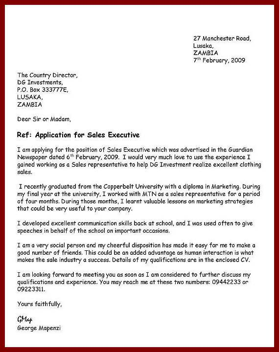 Writing An Application Letter Of Business Letter format