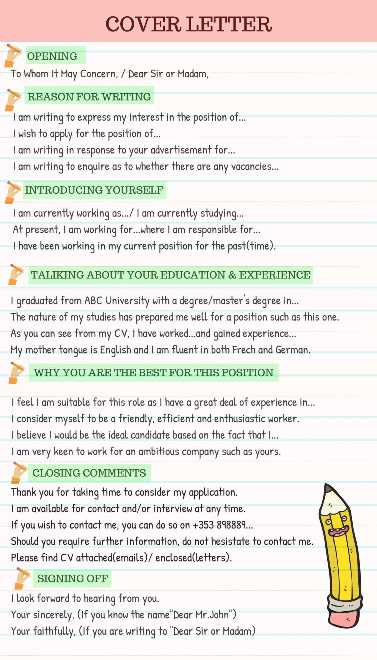 Writing An Application Letter Of How to Write A Cover Letter Effectively Eslbuzz Learning English